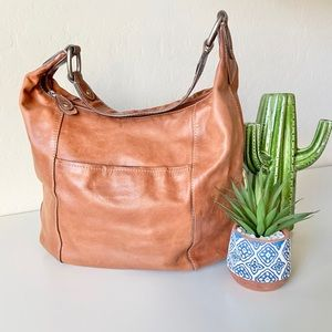 Fossil camel colored genuine leather hobo purse